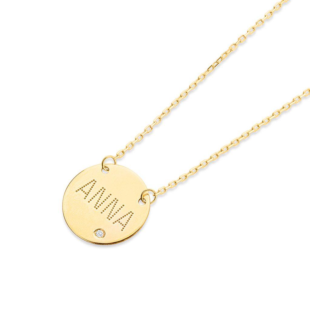 Gargantilla con motivo circular de oro de 18 Kt y diamante personalizable con grabado