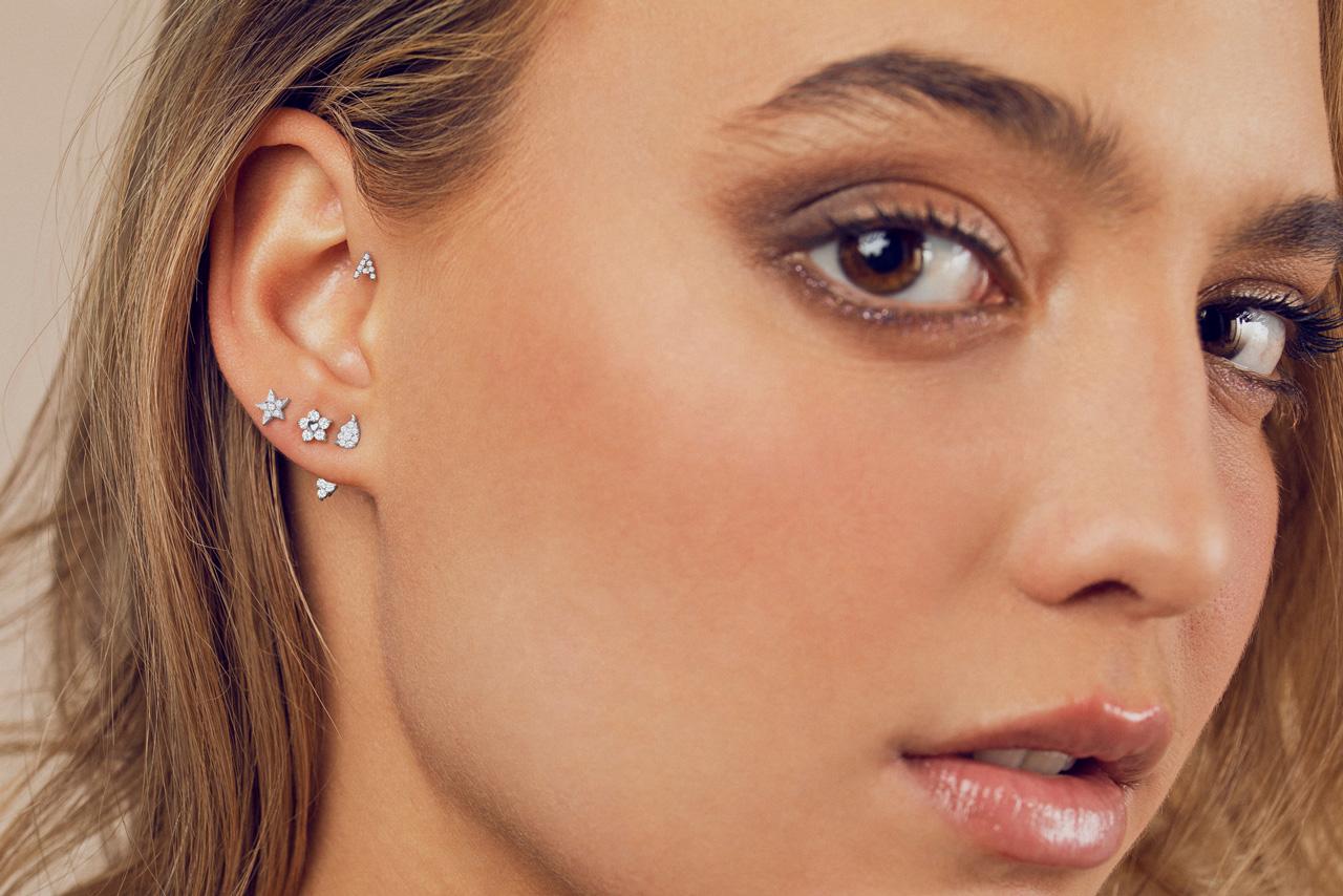Piercings de Oro Blanco y Diamantes con Cierre de Rosca