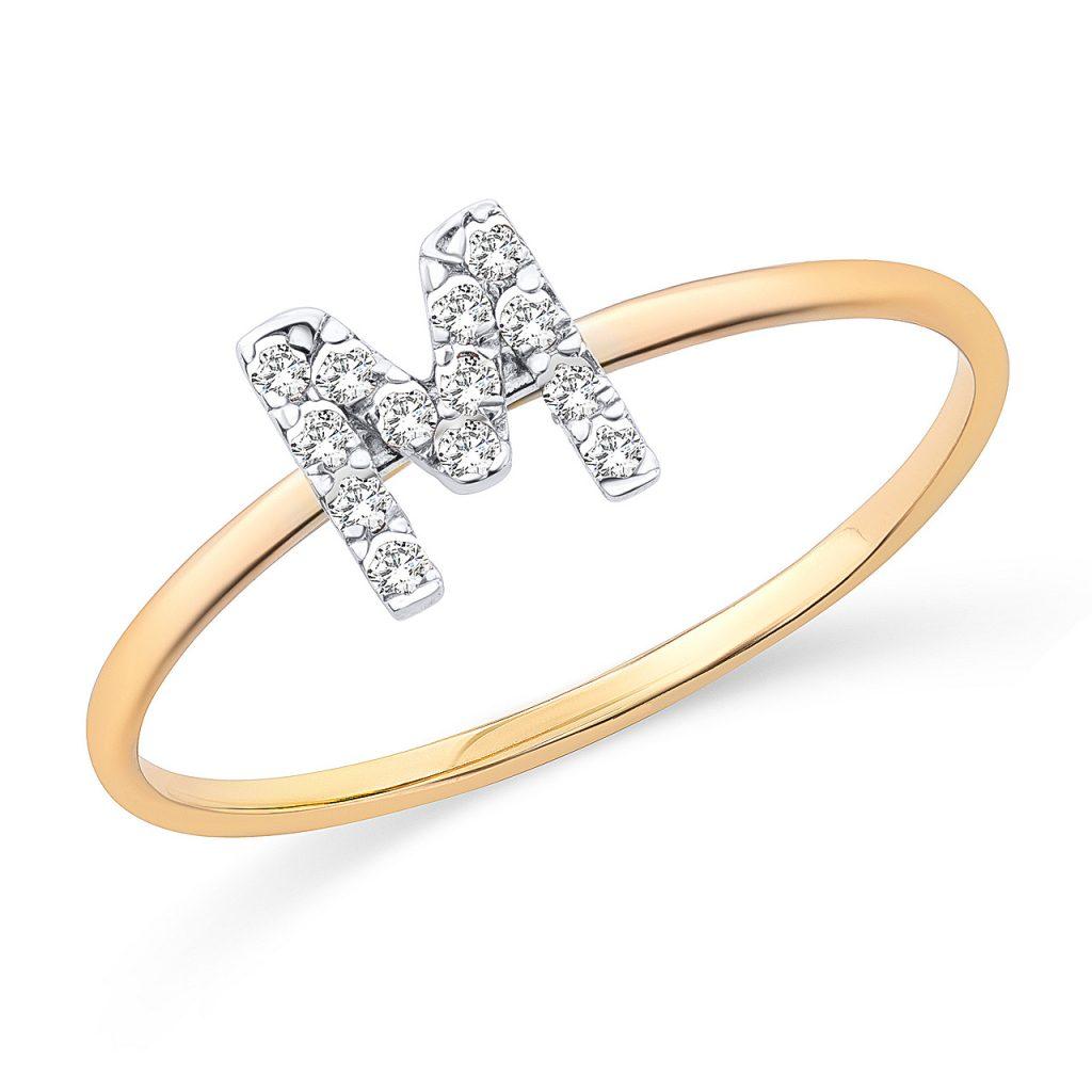 Sortija de inicial de diamantes y montura de oro amarillo de 18 Kt