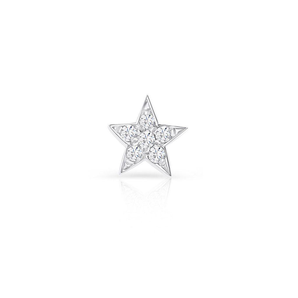Pendiente tipo piercing de diamantes con forma de estrella de cinco puntas