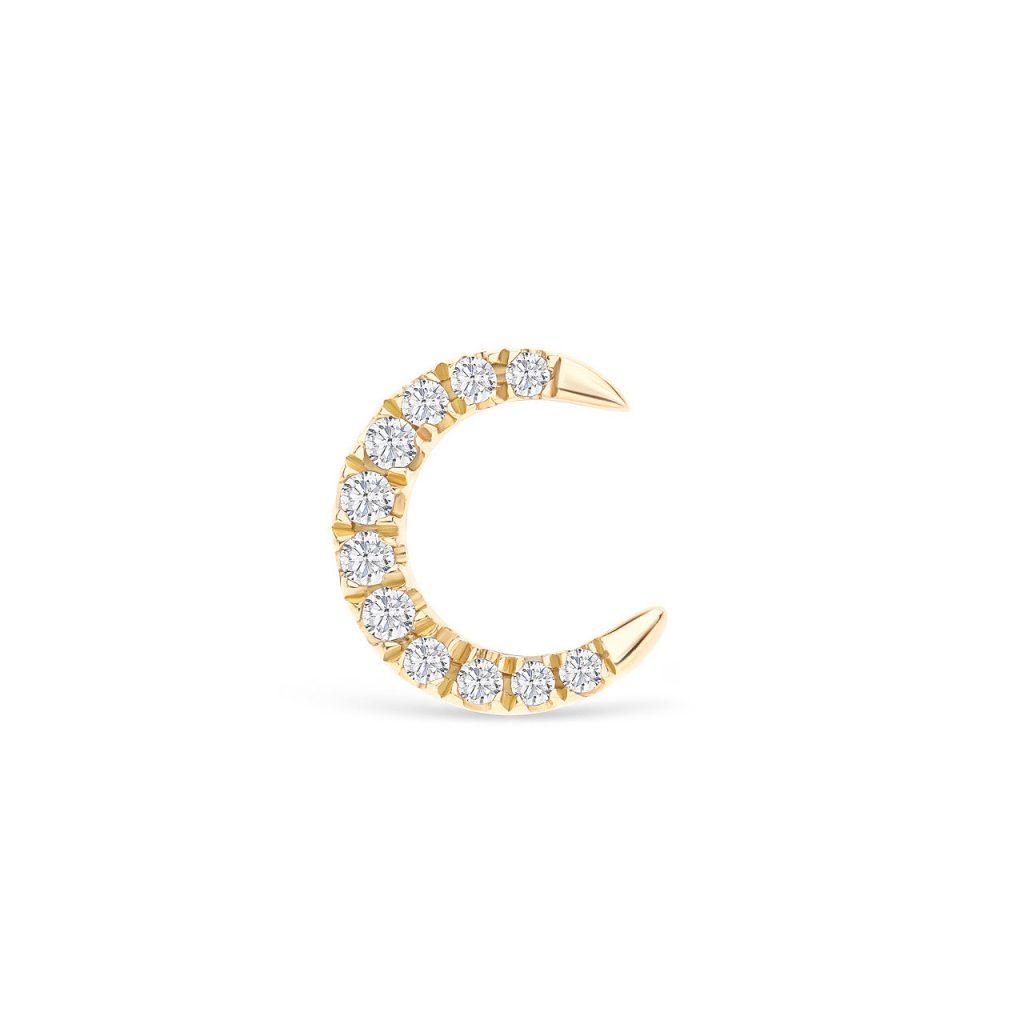 Pendiente tipo piercing de diamantes con forma de media luna